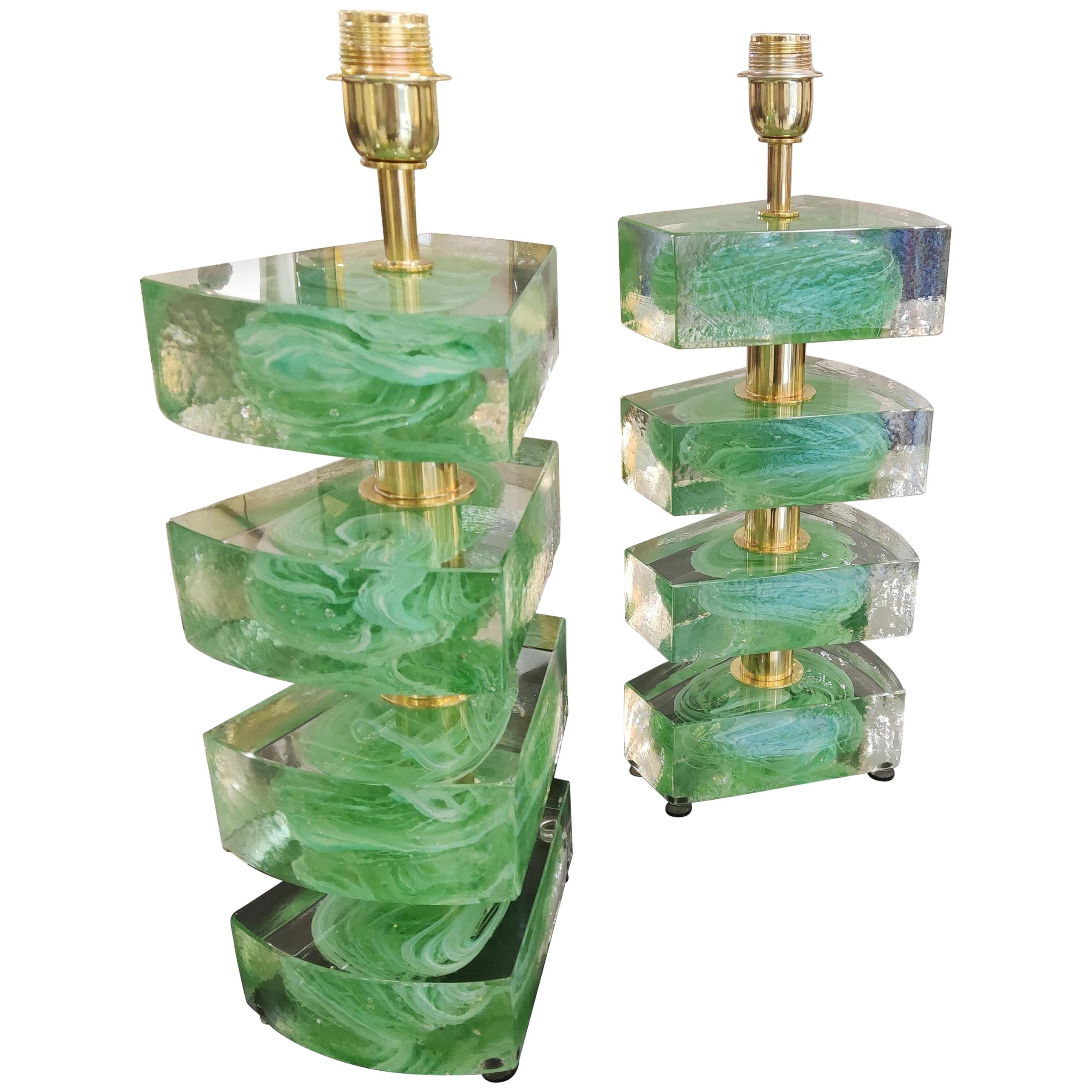 Pair of Colored Murano Glass Table Lamps