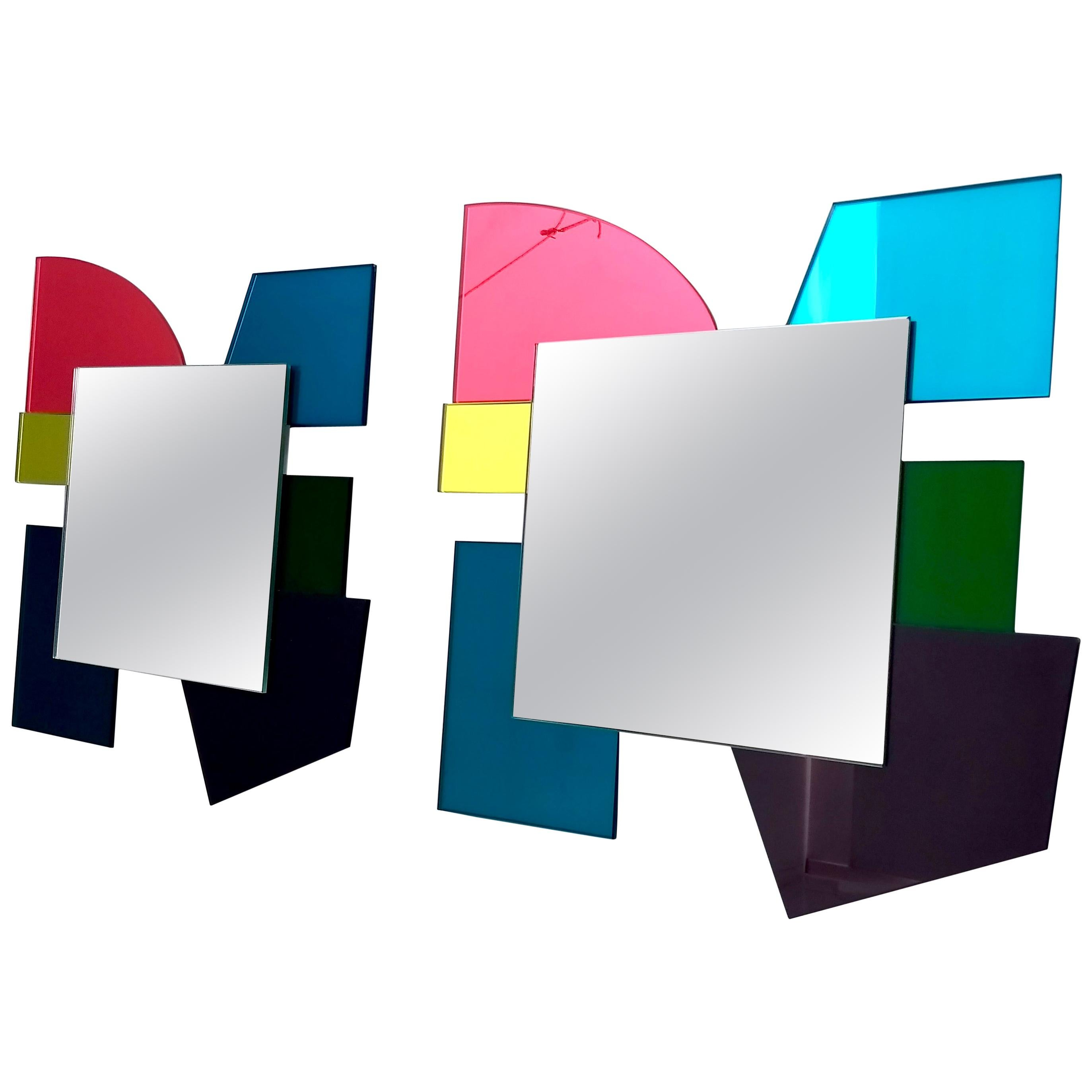 Pair of Colored Wall Mirrors in the Style of Ettore Sottsass, Italy, 2010s