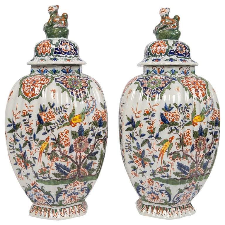 Pair of Colorful 19th Century Dutch Delft Jars Made, circa 1880 For Sale
