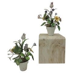 Pair of Colorful Antique Tole Floral Pots