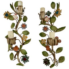 Pair of Colorful Mid Century French Metal Flowers Sconces or Wall Lights