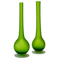 Pair of Colorful Green Carlo Moretti Italian Satinato Murano Glass Pencil Vases