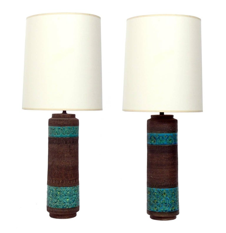 Pair of Colorful Italian Ceramic Lamps by Aldo Londi for Bitossi For Sale