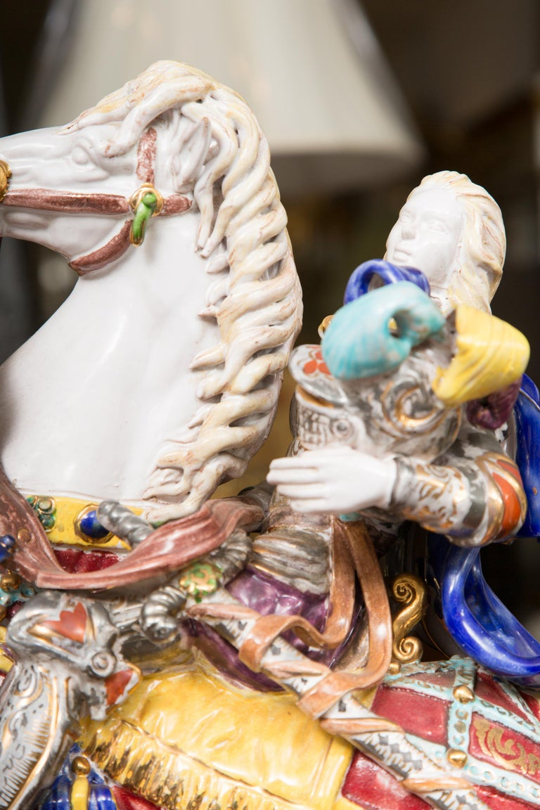 Pair of Colorful Italian Glazed Porcelain Figures For Sale 4