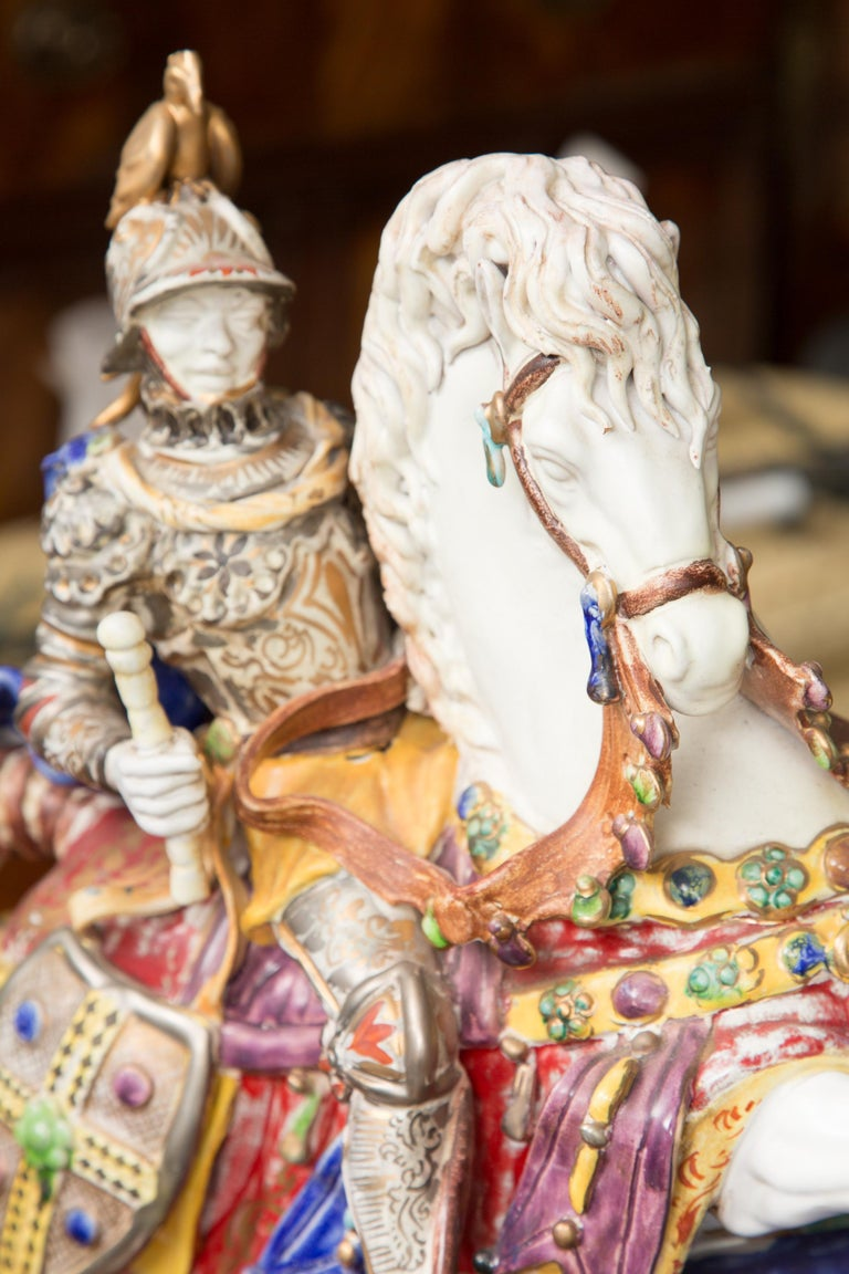 Pair of Colorful Italian Glazed Porcelain Figures For Sale 5