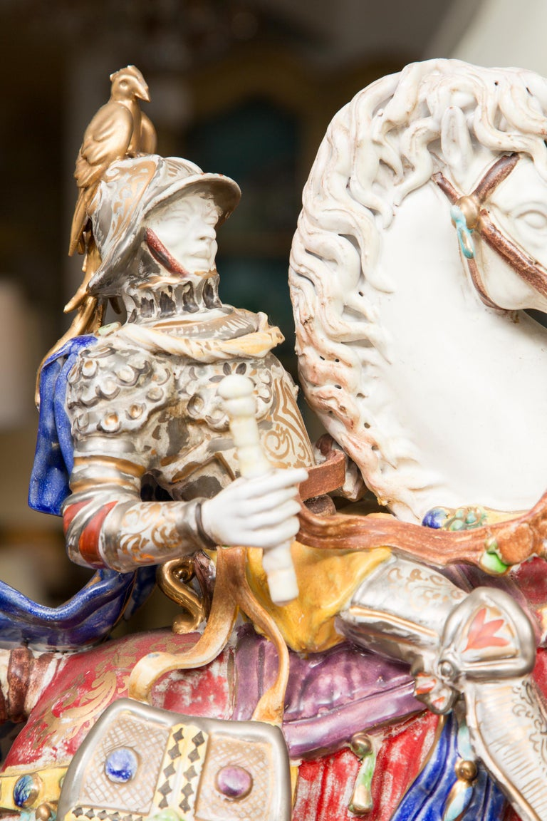 Pair of Colorful Italian Glazed Porcelain Figures For Sale 7