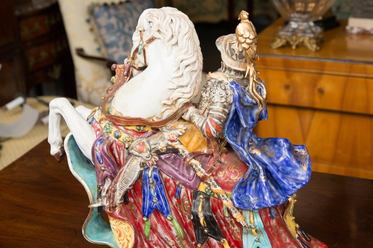 Other Pair of Colorful Italian Glazed Porcelain Figures For Sale