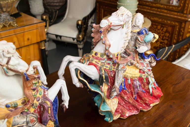Pair of Colorful Italian Glazed Porcelain Figures For Sale 3