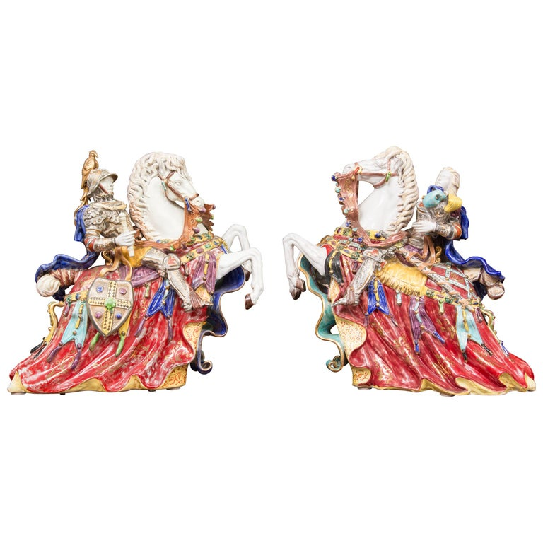 Pair of Colorful Italian Glazed Porcelain Figures For Sale