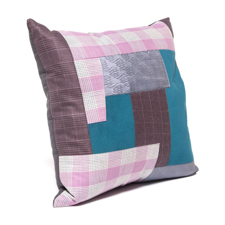 Cotton Pair of Colorful Japanese Suiting Pillows For Sale