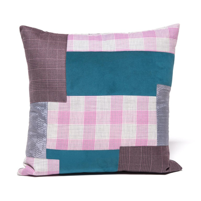 Pair of Colorful Japanese Suiting Pillows For Sale 1