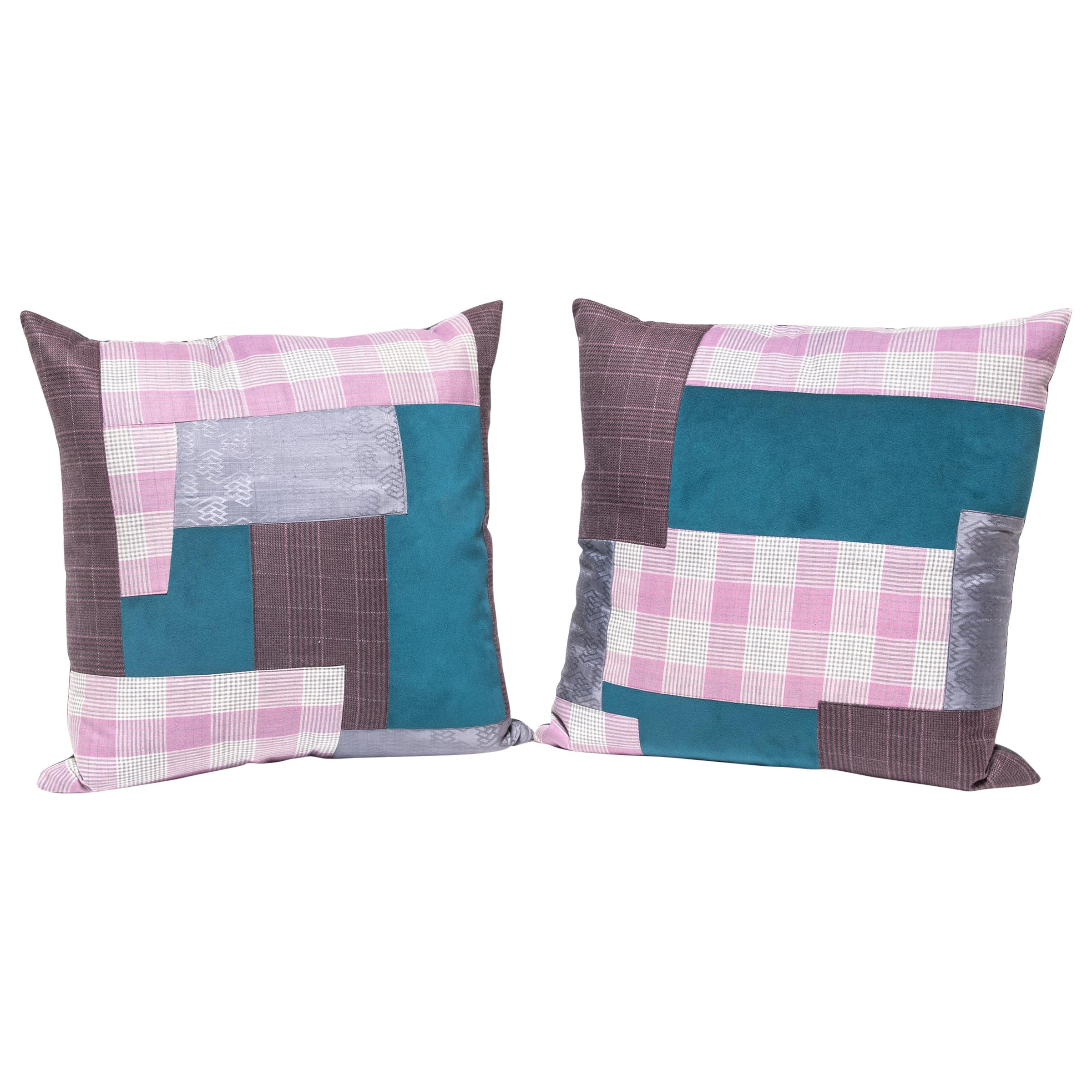 Pair of Colorful Japanese Suiting Pillows