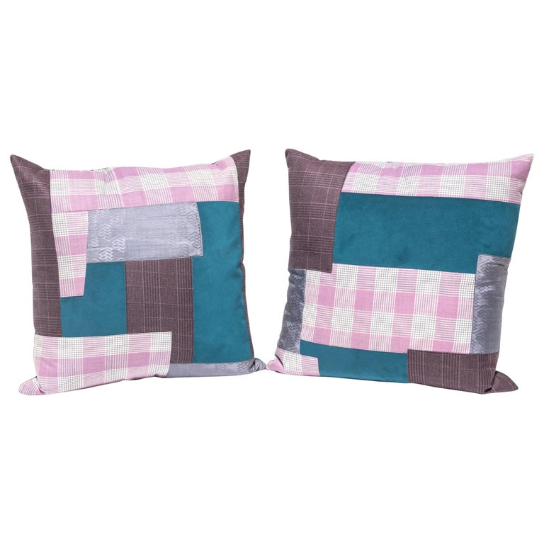Pair of Colorful Japanese Suiting Pillows For Sale
