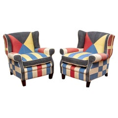 Pair of Colorful Nautical Theme Upholstered Club Chairs