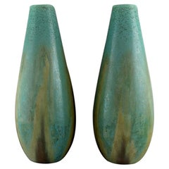 Pair of Colossal French Art Deco Floor Vases in Glazed Ceramics