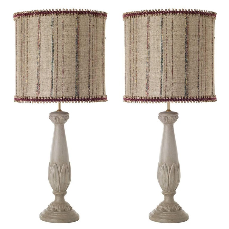 Pair of Column Flamed Ceramic Table Lamps For Sale