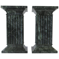 Green and White Column Marble Bookends