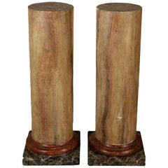 Pair of Columns Made of Scagliola