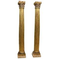 Pair of Columns, Polychromed and Gilt Walnut Wood, 17th Century