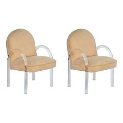 Pair of Comfortable 1970's Lucite Armchairs by Pace Collection