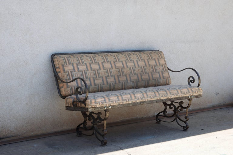 Patinated Pair of Comfortable French Art Nouveau Industrial Wrought Iron Benches For Sale