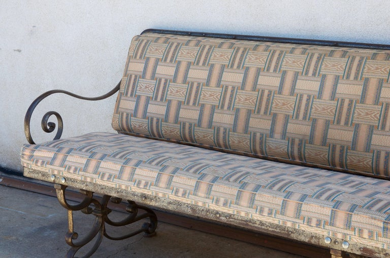 Pair of Comfortable French Art Nouveau Industrial Wrought Iron Benches In Good Condition For Sale In Los Angeles, CA