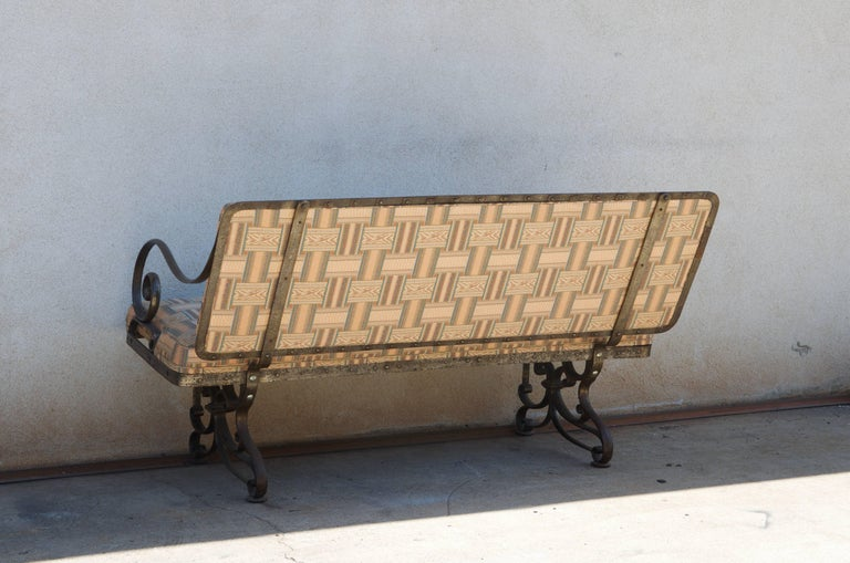 Pair of Comfortable French Art Nouveau Industrial Wrought Iron Benches For Sale 1