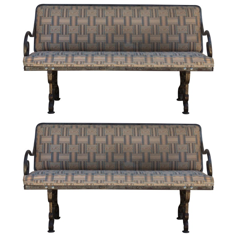 Pair of Comfortable French Art Nouveau Industrial Wrought Iron Benches For Sale