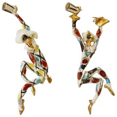 Pair of 'Commedia Dell'arte' Hand Ceramic Wall Sconces Otello Rosa for San Polo