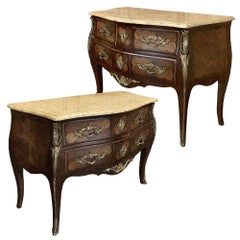 Pair of Commodes, 19th Century French Marble Top Marquetry Bombe