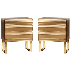 Pair of Commodes in Mirror, by Studio Glustin