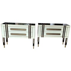 Pair of Commodes in Tinted Black and White Glass with Two Drawers