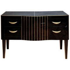 Pair of Commodes in Tinted Black Glass with Two Drawers