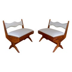 Pair of Compas Wood Armchairs, Italy, 1960s