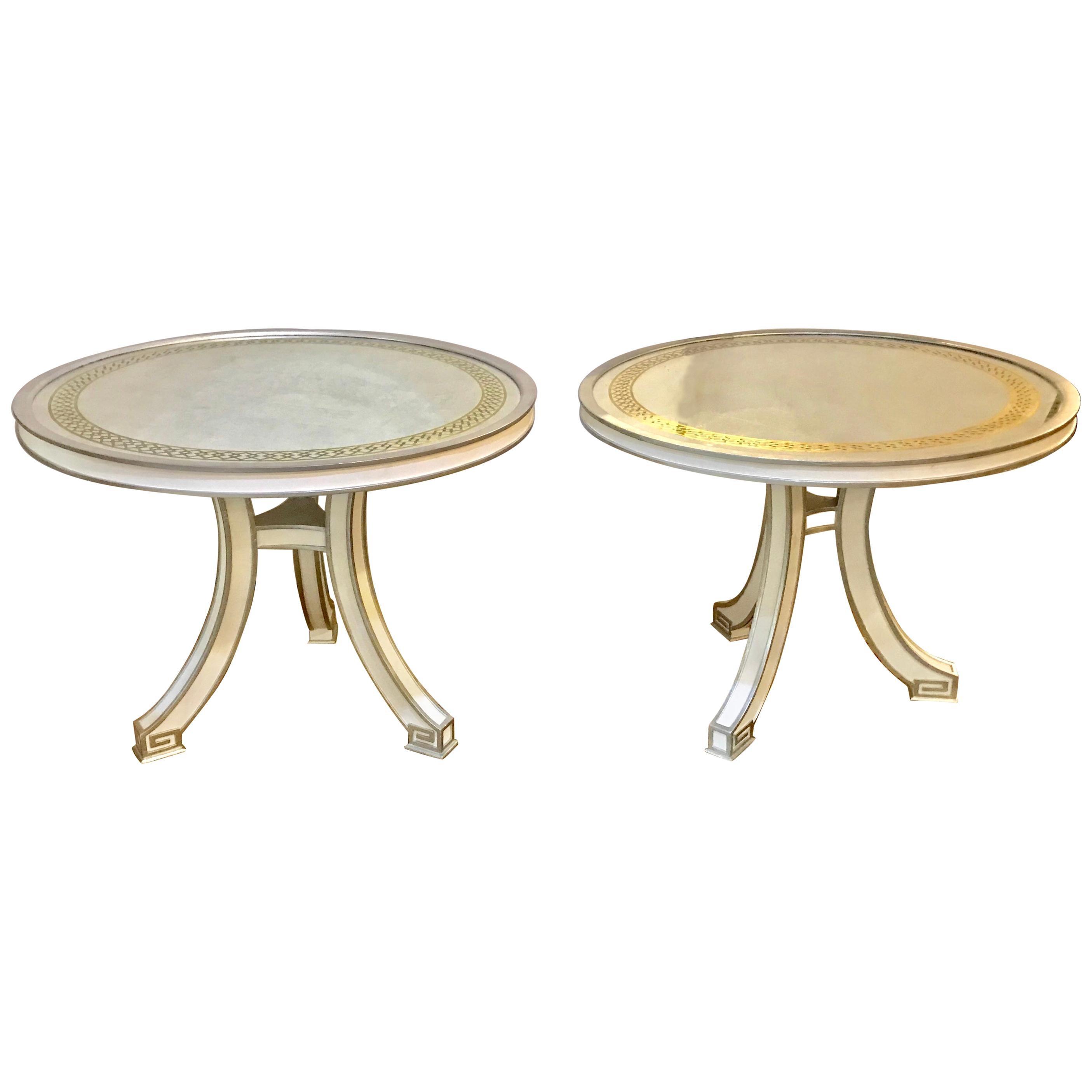 Pair of Compatible Églomisé Top Painted Side, End or Centre Tables
