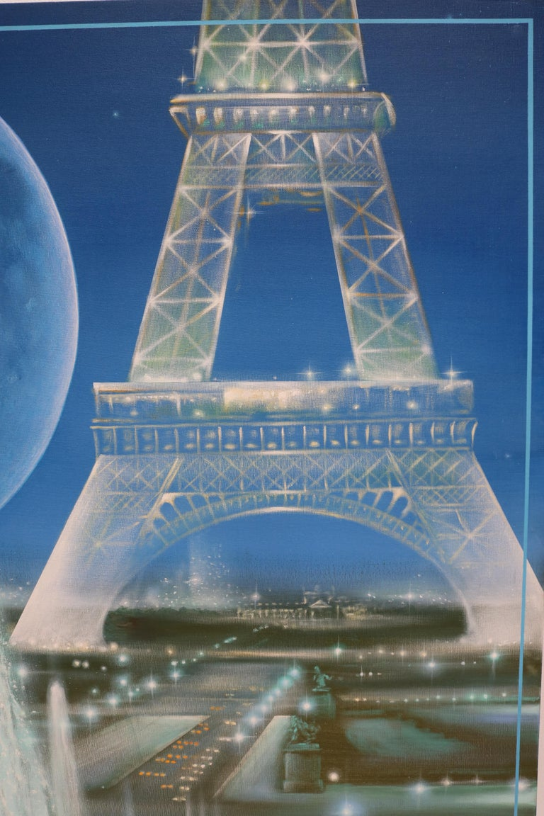Pair of Complementary Eiffel Tower Paintings by Guy Costecalde For Sale 4