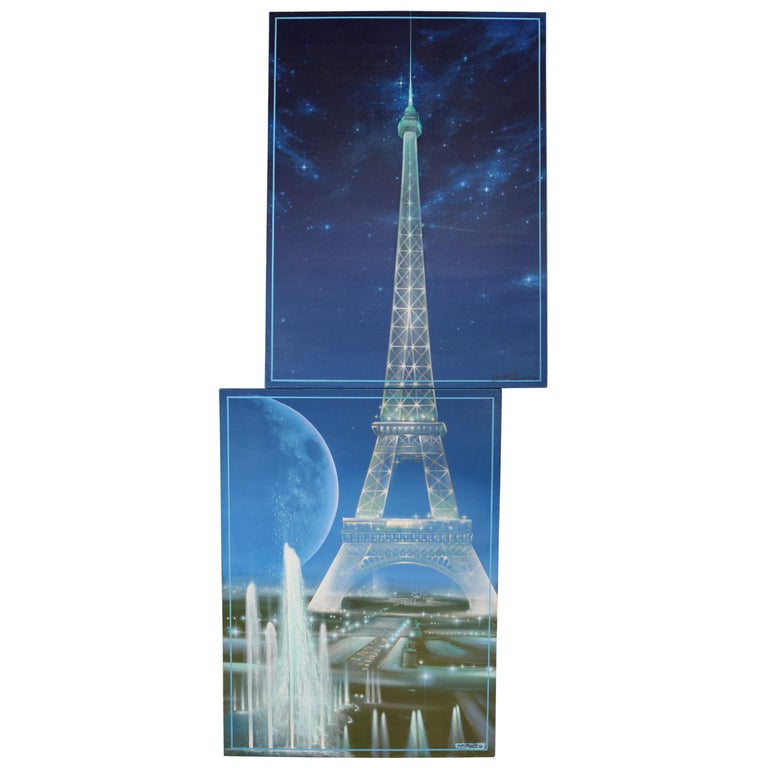 Pair of Complementary Eiffel Tower Paintings by Guy Costecalde For Sale