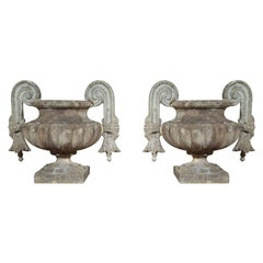 Pair of Composed Stone Urns