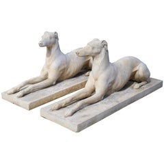 Pair of Composite Stone Greyhounds from England
