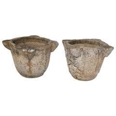 Pair of Composite Stone Mortar Pots