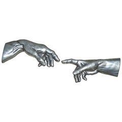 Pair of Compulsion Gallery 1994 Pewter Hands The Creation of Adam God Touching