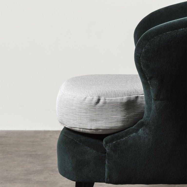 Fabric Pair of Concha Armchairs by Joaquim Tenreiro For Sale