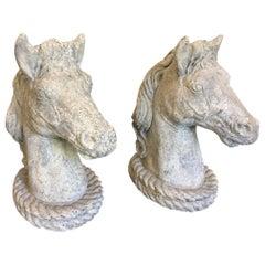 Pair of Concrete Horse Heads, circa 1950s