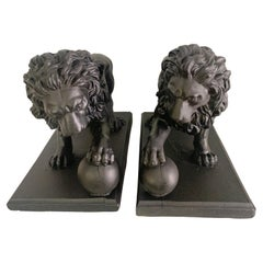Pair of Concrete Lions with Ball