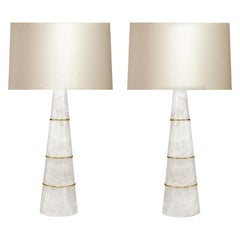 Pair of Cone Form Rock Crystal Quartz Lamps by Phoenix