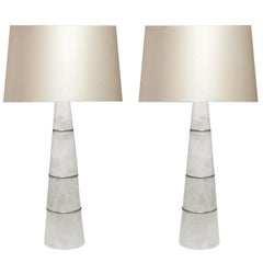 Pair of Cone Shaped Rock Crystal Quartz Lamps