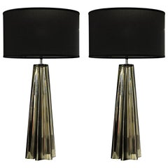 Pair of Cone Star-Shaped Table Lamps, Murano Mercury Glass