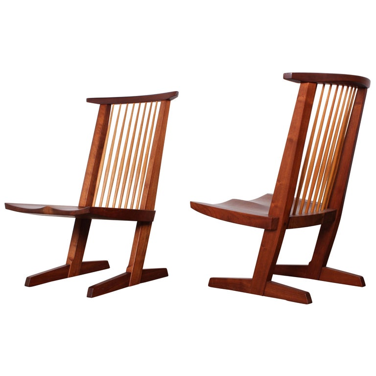 Pair of Conoid Lounge Chairs by George Nakashima For Sale