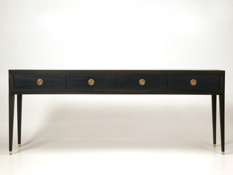 Pair of Console or Sofa Tables from the Old Plank Collection in Leather and Wood For Sale 4