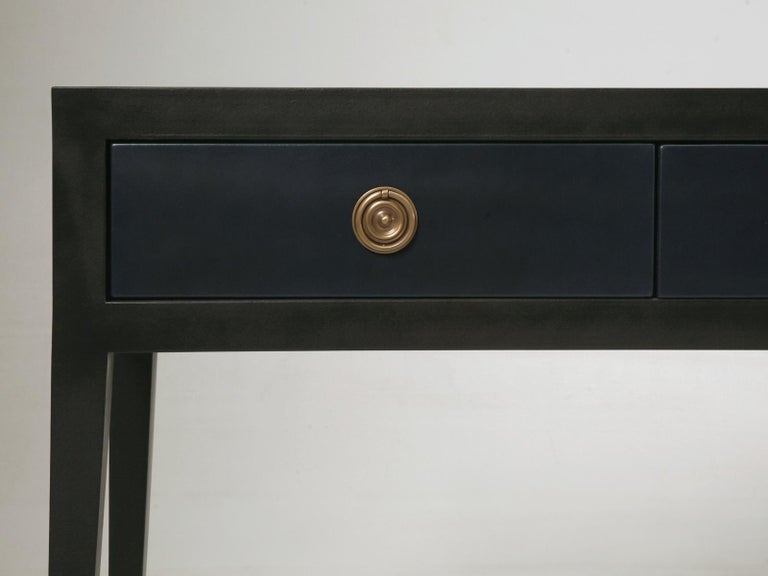 Hand-Crafted Pair of Console or Sofa Tables from the Old Plank Collection in Leather and Wood For Sale